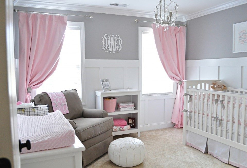 Grey and pink baby nursery photo
