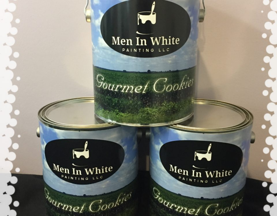 Men In White Cookie Can