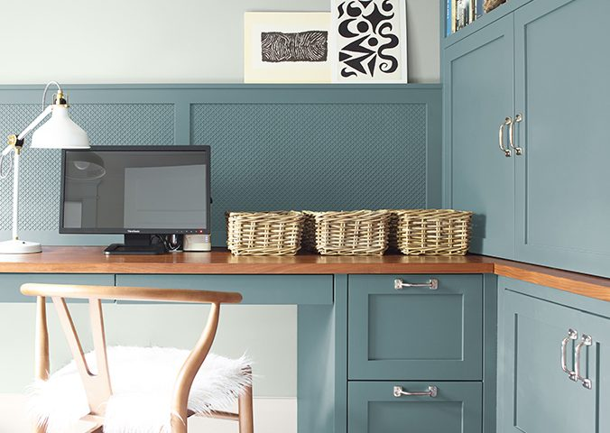 Interior painted with Aegean Teal by Benjamin Moore