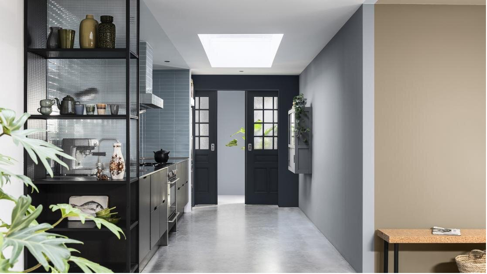 Lavender and black painted kitchen interior