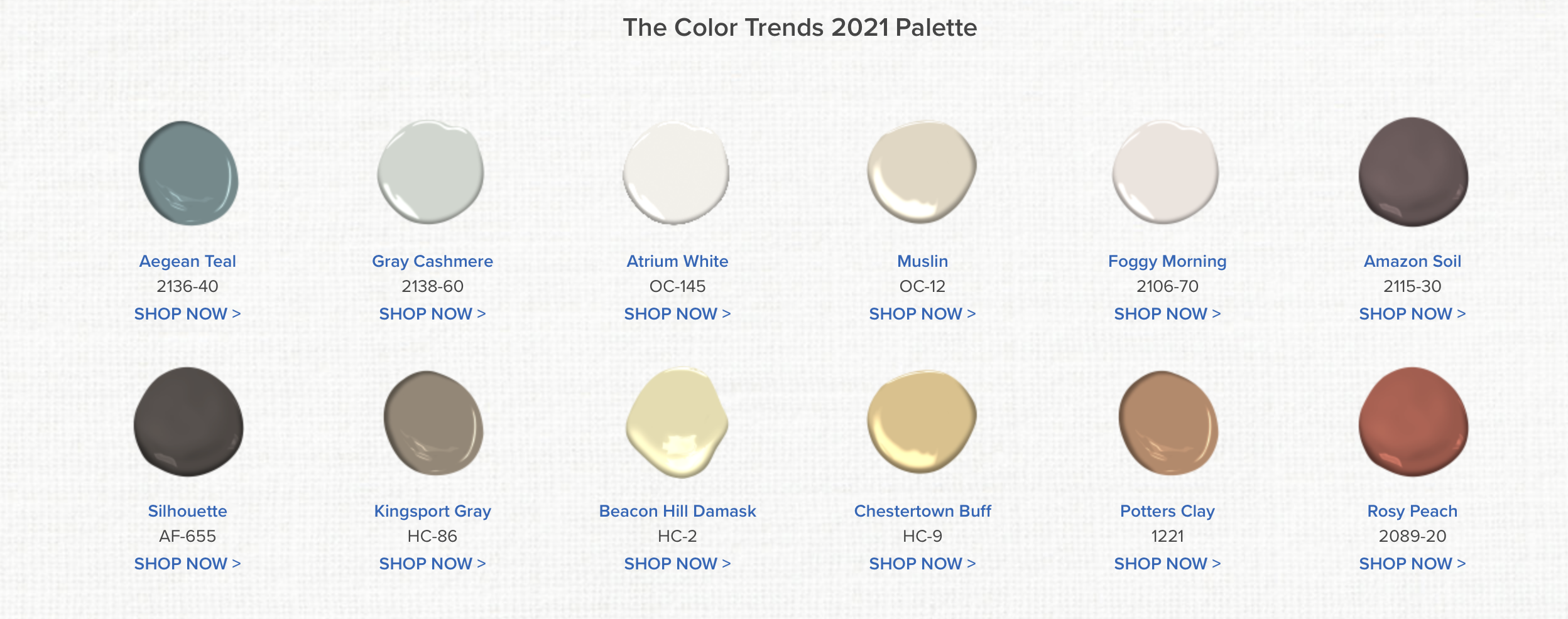 The Benjamin Moore Color Trends 2021 Palette for Paint Colors.
